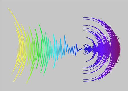 Music background with colorful dynamic waves.   digital media waveform illustration. Rainbow sound banner.