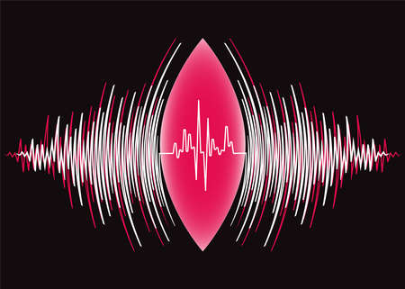 Abstract sound waves oscillating around heart pulse background.   radial music technology poster 免版税图像
