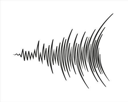 Black music wave   on white background. Pulse audio player. Sound equalizer element. Futuristic waveform technology   illustration.
