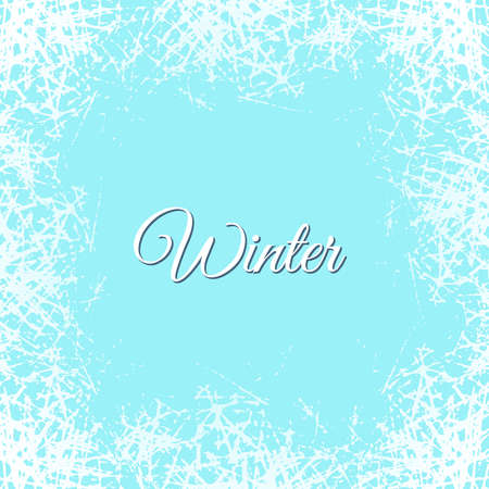 Ice crystals design texture on freeze window. Vector frame with frosted patterns. Winter holiday background