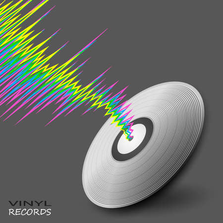 Poster with wave and vinyl player record. Vector colorful line style music background. Vinyl music modern banner