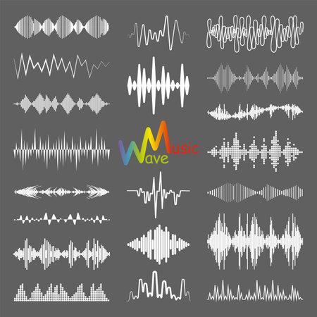 White sound waves   collection with audio symbols. Modern music equalizer elements set. Digital flat isolated illustration.   waveform technology.