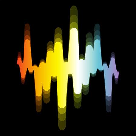 Spectrum sound wave   digital colorful waveform with blur effect on black background. Modern pulse music player technology. Audio design banner. 免版税图像