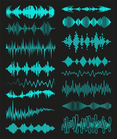 Music waves audio symbols collection on black background. Modern sound equalizer elements set. Digital waveform technology template. Jpeg illustration. 免版税图像