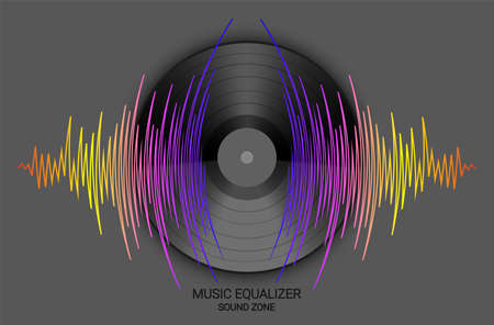 Poster of vinyl record and pulse music wave. Vector colorful digital technology illustration. Modern media banner. Audio background,