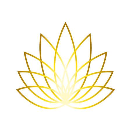 Golden Linear Lotus logo. Floral label for design yoga center, spa, beauty salon. Wellness industry symbol. Jpeg Illustration. 免版税图像