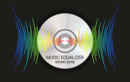 Music disk with colorfull waves. Modern audio background. Trendy player record poster. Vector digital technology illustration