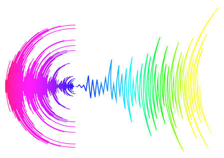 Poster with neon rainbow sound wave on white. Abstract colorful music dynamic waves background. Digital media waveform. Modern audio equalizer. Jpeg illustration 免版税图像