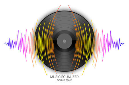 Black vinyl record with pulse music wave on a white background. Vector colorful media technology banner. Modern audio illustration 矢量图像