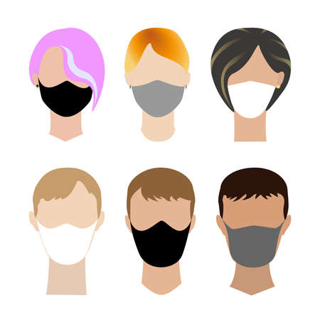 Face boys and girls without eyes covered medical mask. Flat vector concept, wearing protective mask for prevent virus Covid-19. Collection of various avatars for social networks