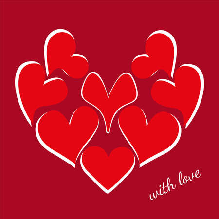 A large red heart consists of many hearts and a handwritten inscription. Vector design theme of love for greeting card, banner, invitation or postcard