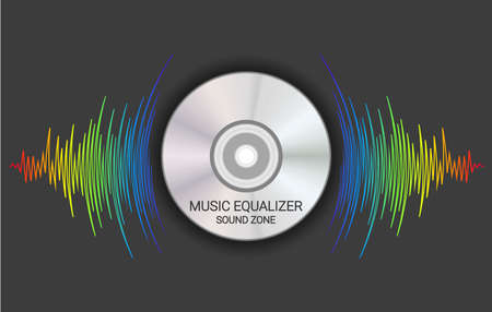 Disk emitted music wave rainbow colors. Modern audio poster. Trendy colorful player record vector illustration