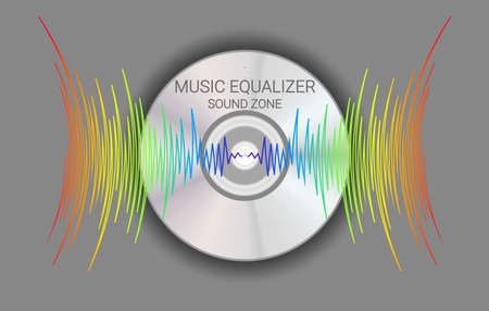 Music disk with colorfull waves. Modern audio background. Trendy player record poster. Vector technology illustration 矢量图像