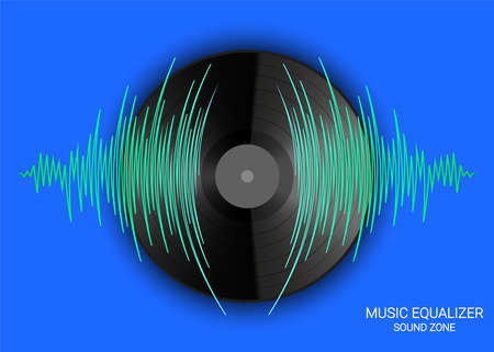 Poster of vinyl record and pulse music wave. Vector colorful media technology. Modern audio banner 矢量图像