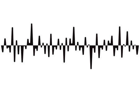 Black pulse music player. Audio wave logo. Sound equalizer element. Jpeg illustration