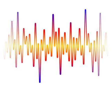 Colorful sound wave on white background. Pulse music player equalizer. Audio dynamic signal. Jpeg illustration