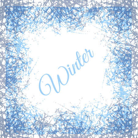 Stylized ice crystals design frame. Abstract texture freeze window. Vector winter background with frosted patterns. 矢量图像