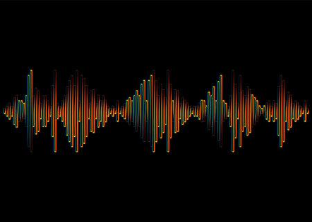 Music Wave logo. Jpeg rainbow pulse player Illustration. Colorful digital equalizer signal on a black background 免版税图像
