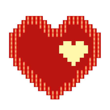 Red heart icon in pixel style. Isolated love sign on orange background. Jpeg illustration