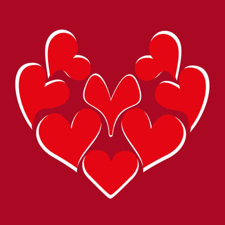 A large red heart consists of many hearts and a handwritten inscription. Design theme of love for greeting card, banner, invitation or postcard