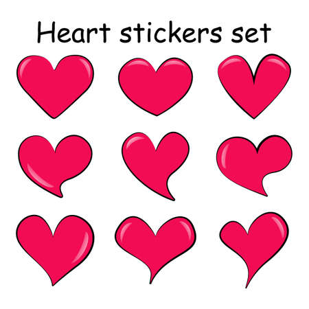 Set of different pink cartoon hearts with glare. Isolated volumetric love symbols. Variety shapes colored collection. Vector template elements for your design