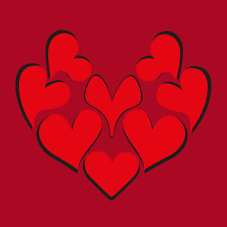 Large red heart consists of many hearts with shadow. Design theme of love for greeting card, banner, invitation or postcard. Jpeg illustration.