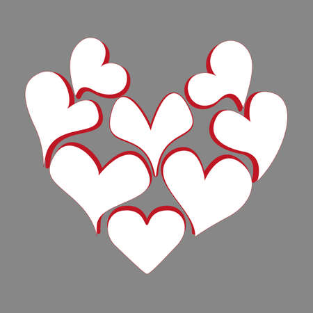 Heart consists of many white hearts. Design theme of love for greeting card, banner, invitation or postcard. Jpeg illustration. 免版税图像