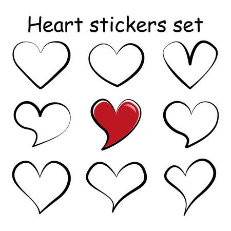 Different linear hearts sticker set. Vector isolated cartoon love symbols. Variety doodles shapes collection. Modern template elements for your design. 矢量图像