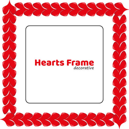 Red volumetric hearts photo frame. Vector decorative square border template on white background. Love theme for design voucher, special business ad, banner 矢量图像