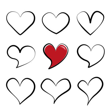 Different linear hearts sticker set. Isolated cartoon love symbols. Variety doodles shapes collection. Modern template elements for your design. Jpeg illustration. 免版税图像