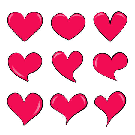 Set of different pink cartoon hearts with glare. Isolated volumetric love symbols. Variety shapes colored collection. Jpeg template elements for your design. 免版税图像