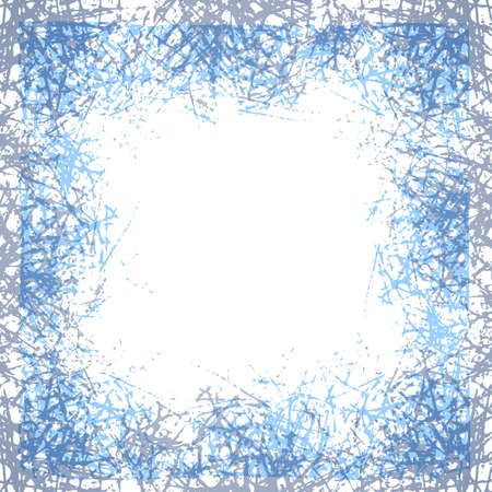 Stylized ice crystals design frame. Abstract texture freeze window. Winter background with frosted patterns. Jpeg illustration 免版税图像