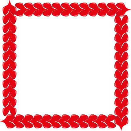 Red volumetric hearts photo frame. Decorative square border empty template on white background. Love theme jpeg illustration.