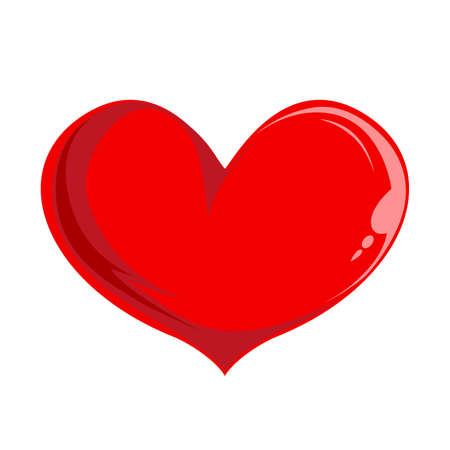 Red volumetric heart template isolated on white background. A beautiful symbol of love and romance for design. Jpeg illustration.