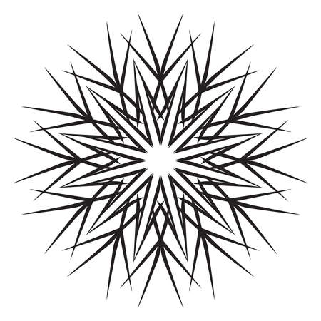 Black snowflake isolated on a white background. Simple crystal line logo. Winter vector silhouette icon