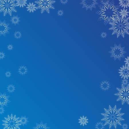 Winter blue background with white falling snowflakes. Celebrations snowfall jpeg illustration 免版税图像