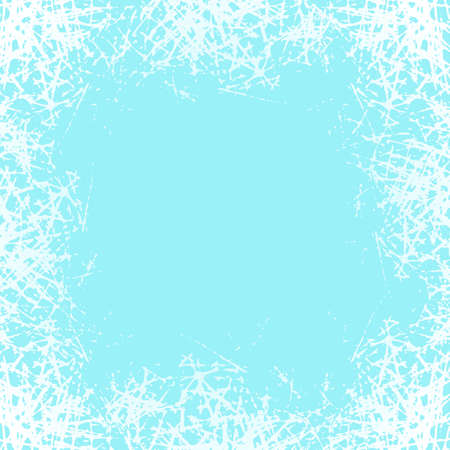 Ice crystals design texture on freeze window. Frame with frosted patterns. Winter holiday background. Jpeg