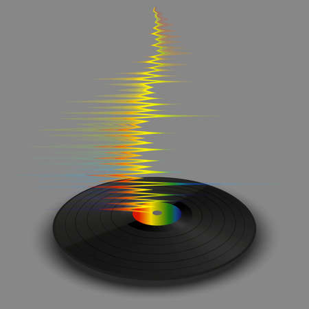 Poster of vinyl player record with rainbow wave. Trendy colorful line style music on gray background. Modern banner with vinyl music. Jpeg illustration.