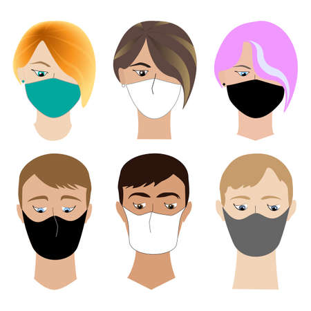 Boy and girl heads collection with face covered medical mask. Flat concept, wearing protective mask for prevent virus Covid-19. Various avatars for social networks. Jpeg