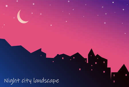 Night cityscape houses silhouette with moon and stars on purple background. Vector illustration of cityscape.