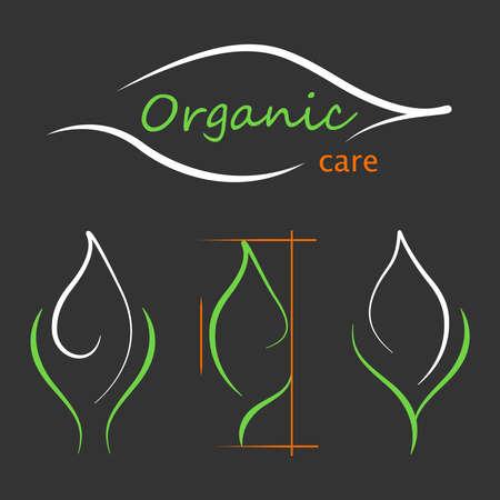 Contour green leaf logos set.