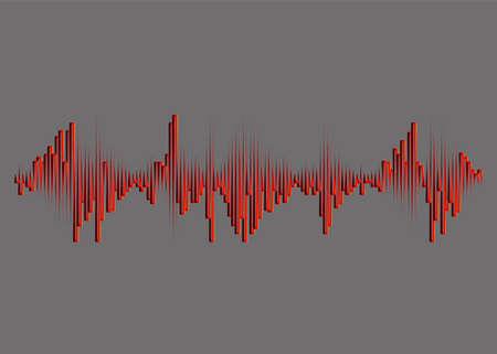 Red music wave on gray background. Digital audio concept. Jpeg colorful pulse equalizer illustration. 免版税图像