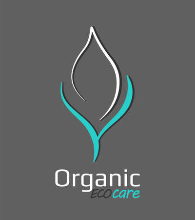 Contour green leaf   as mockup of seedling, growing plant. Stylized eco greens symbol. Natural care ecology icon template. Vector organic sign