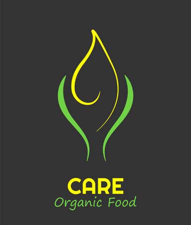 Contour leaf logo. Stylized eco greens symbol. Natural design of plant emblem. Vector organic food icon template. Ecology life care nature symbol