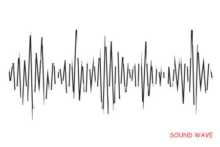 Abstract black pulse equalizer on white background. Vector grunge music logo. Modern stylized wave lines for design elements in concept of music, technology.