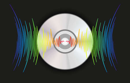 Music disk with colorfull waves. Modern audio jpeg background. Trendy player record poster. Digital technology illustration. 免版税图像