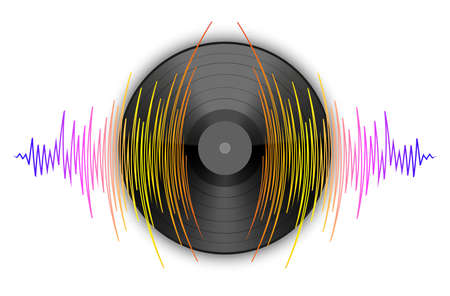 Black vinyl record with pulse music wave on a white background. Colorful media technology banner. Modern audio jpeg illustration.