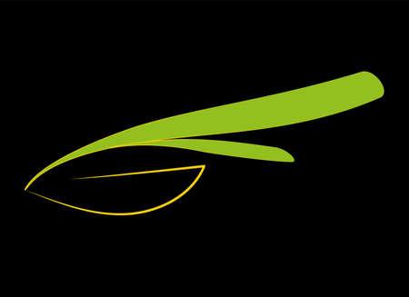 Stylized leaf logo on black background. Eco natural design of plant emblem. Organic sign with contour green leaves. Ecology life nature symbol. Jpeg illustration