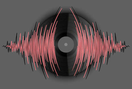Background with vinyl record and music wave. Modern audio poster. Trendy colorful wavy player jpeg illustration