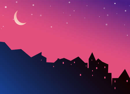 Night cityscape houses silhouette with moon and stars on purple background. Jpeg illustration of cityscape.